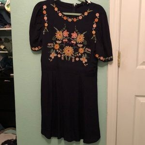 Navy blue floral embroidered dress